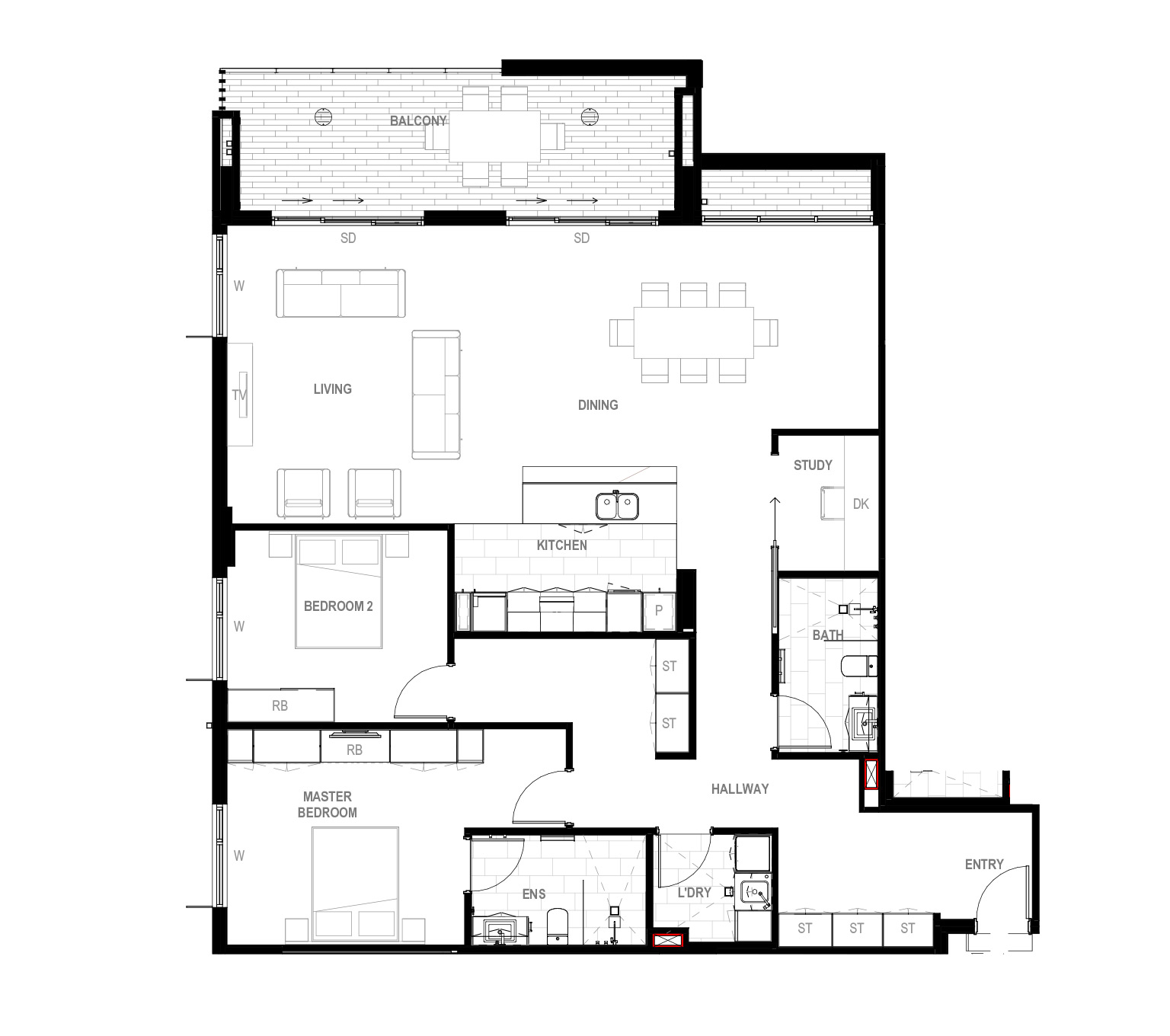 2 bedroom + study Floor Plan